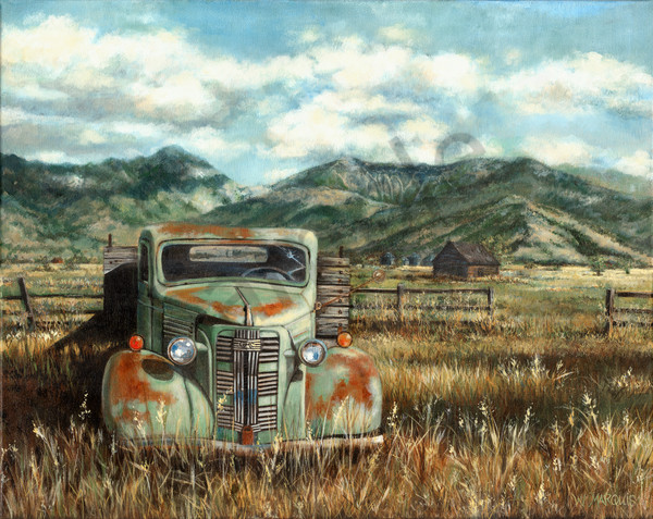 BRIDGER GMC, green gmc, pickup truck,. print, reproduction, bridger mountains