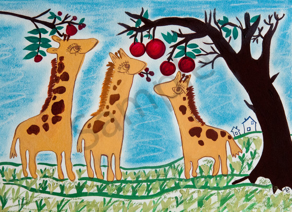 Giraffes and cherries