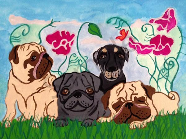 Pugs in the garden