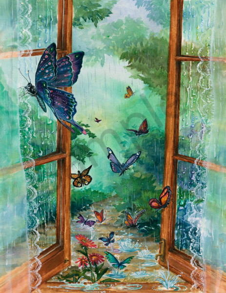 Whimsical watercolor butterflies in a rainfall