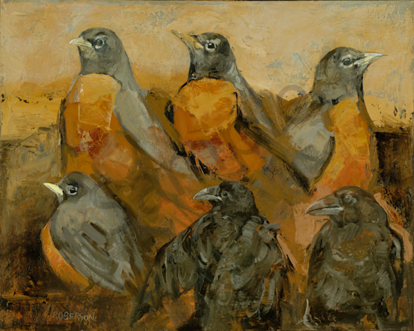 Robins And Fledgling Ravens Art | Mary Roberson