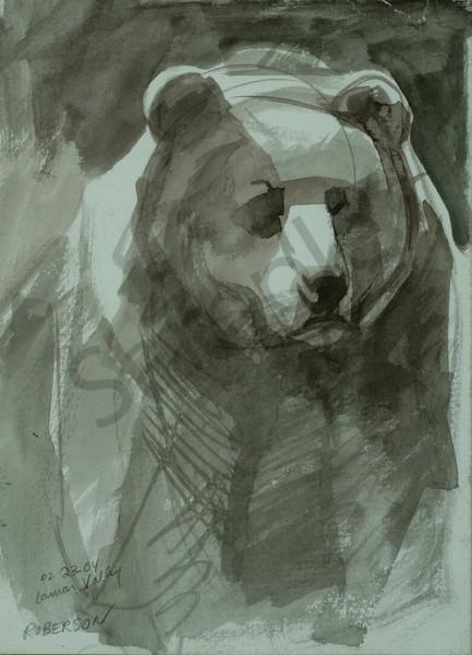 Lamar Valley Griz Art | Mary Roberson