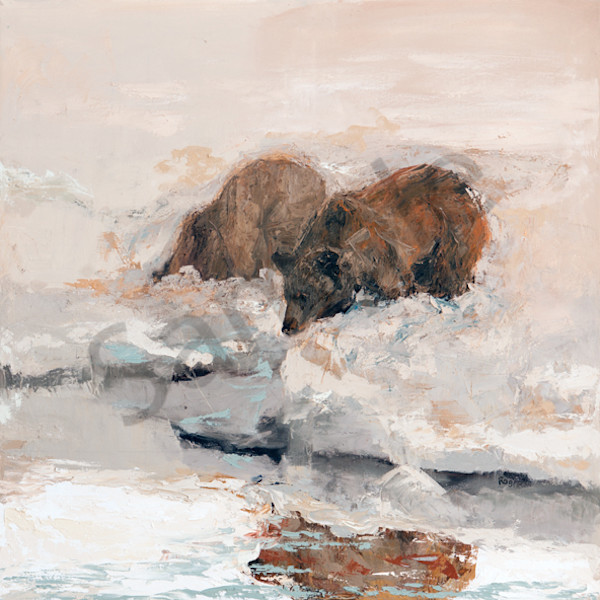 Sow And Cubs At Oxbow Bend/ Right Side Diptych Art | Mary Roberson