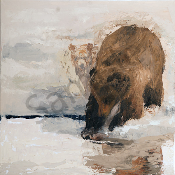 Sow And Cubs At Oxbow Bend Art | Mary Roberson