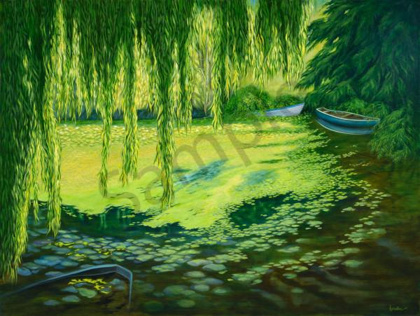 """Willows And Waterlilies"" Art   Bonnie Sailer Fine Art"