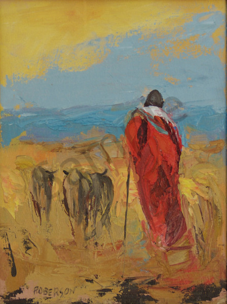 Herder In Maasai Land Oil On Panel  Art | Mary Roberson