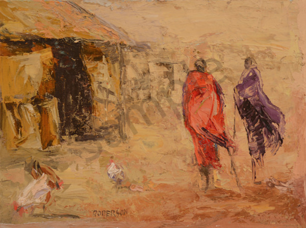 Two Maasai In Village With Chickens  Art | Mary Roberson