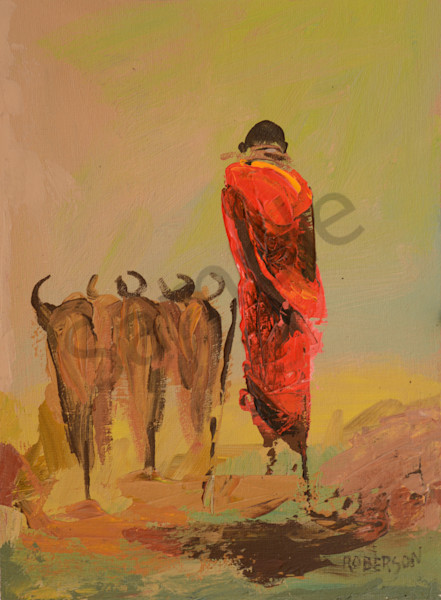Maasai Cattle Herder At Sunset Art | Mary Roberson