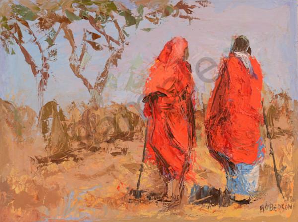 Two Maasai Warriors Herding Cattle