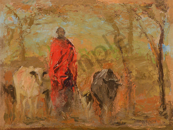 Maasai Man With Cattle Art | Mary Roberson