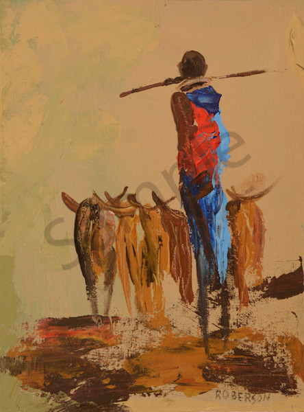 Maasai Herder With Walking Stick On Shoulders Art | Mary Roberson