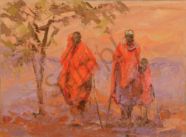 Maasai Family Walking  Art | Mary Roberson