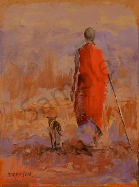 Maasai Man With His Dog Art | Mary Roberson