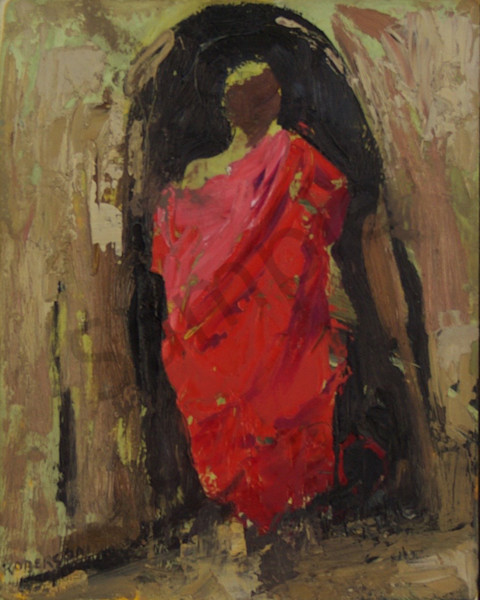 Maasai Youth Entering Hut  Art | Mary Roberson