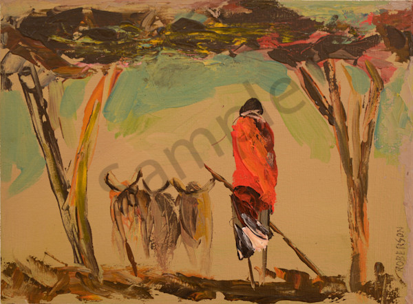 Maasai With Cattle And Two Acacia Trees