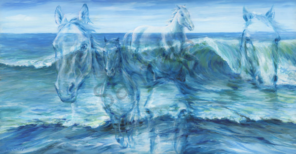 """Horses As The Waves"" by Cnadian artist Melani Pyke 