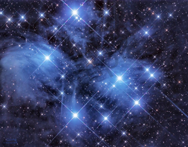 Pleiades Open Star Cluster Photography Art | Dark Sky Images