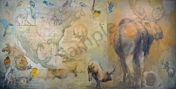 North American Deer Family 48x96mm23000 Art | Mary Roberson