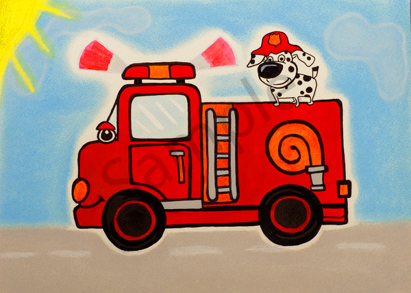 Firetruck And Dog Saturated 5x7 Art | arteparalavida