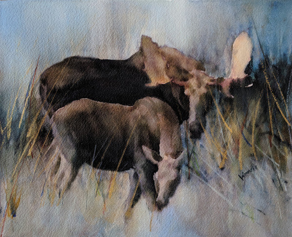 """Moose And Calf"" by New Mexico Artist Penny Winn 