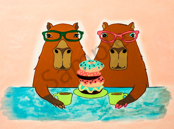 Capibara Coffee Date Art | arteparalavida