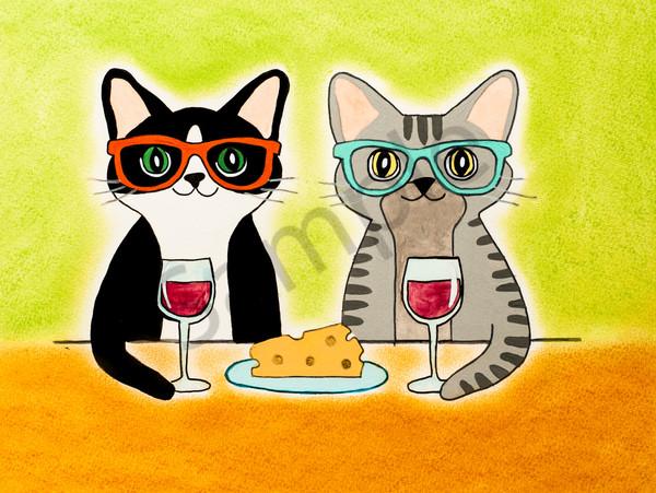 Wine And Cheese Cats Art | arteparalavida