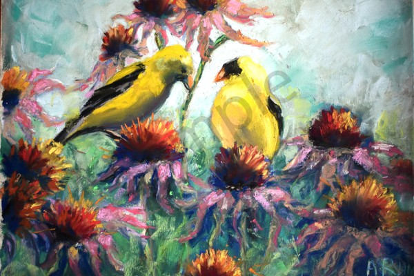 """Goldfinch On Cornflower"" by Pennsylvania Artist April Ryan 