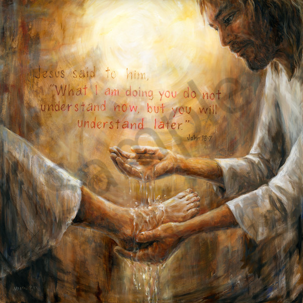 """Washing Feet"" by Canadian Prophetic Artist Melani Pyke 