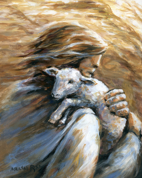 """Jesus Carrying The Lost Sheep"" by Canadian Artist Melani Pyke 