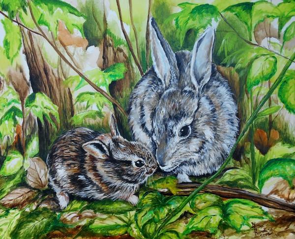 """Woodland Bunnies"" by Indiana Artist Gina Harding | Prophetics Gallery"