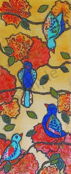 Garden Birds And Flowers (1) Print Art | Sharon Tesser LLC