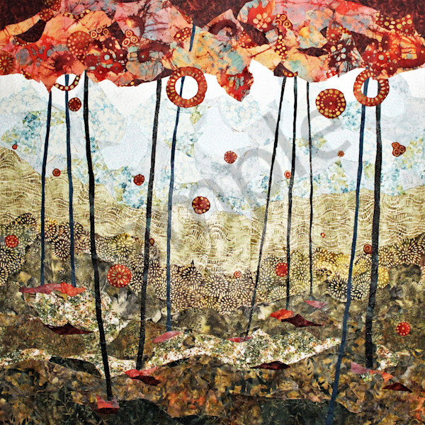 Red Forest Print by Sharon Tesser