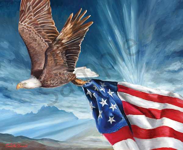 """Eagle and Flag"" by Louisiana Artist Camille Barnes 