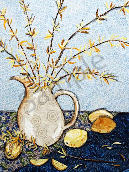 Lemons and Forsythia Print by Sharon Tesser