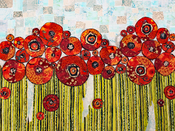 The Expanse in Red is a Sharon Tesser textile mosaic.
