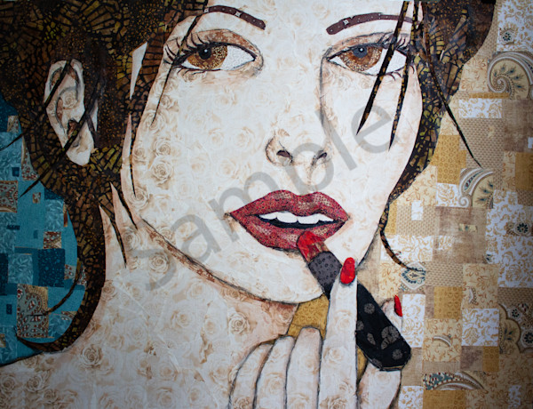 Lipstick print is from an original Sharon Tesser textile mosaic.