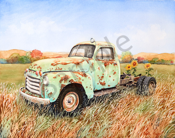 """""""Old Truck"""" watercolor prints available in paper, metal, acrylic, canvas and wood by Beth Owen"""