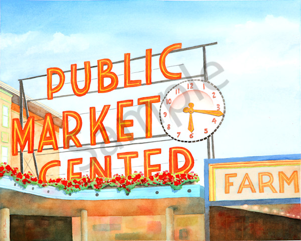 Pike Place Market watercolor prints available in paper, metal, acrylic, canvas and wood by Beth Owen.