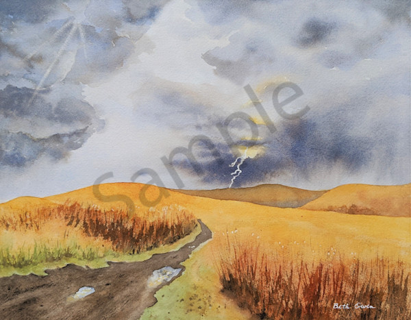 Prairie Storm watercolor prints available in paper, metal, canvas, acrylic and wood by Beth Owen.