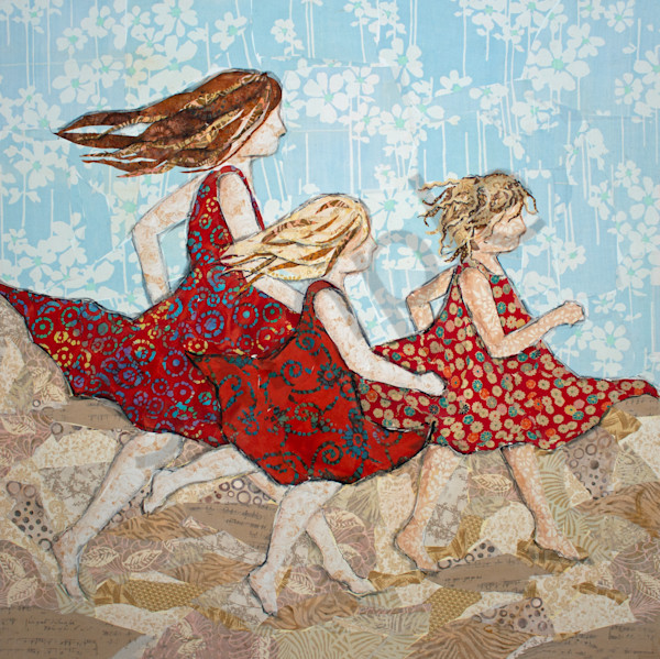 Three Running Girls Gallery Wrap Print is from an original textile mosaic from Sharon Tesser.