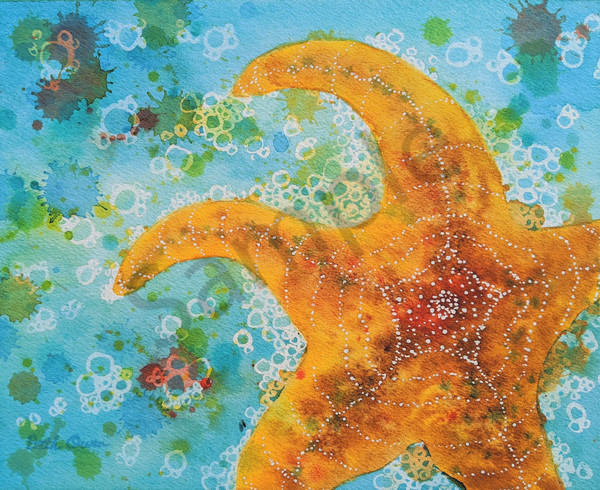 Happy Ochre Starfish watercolor prints available in paper, metal, acrylic, canvas and wood by Beth Owen.