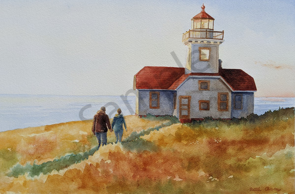 Patos Island Lighthouse watercolor print available in paper, metal, acrylic, canvas and wood by Beth Owen.