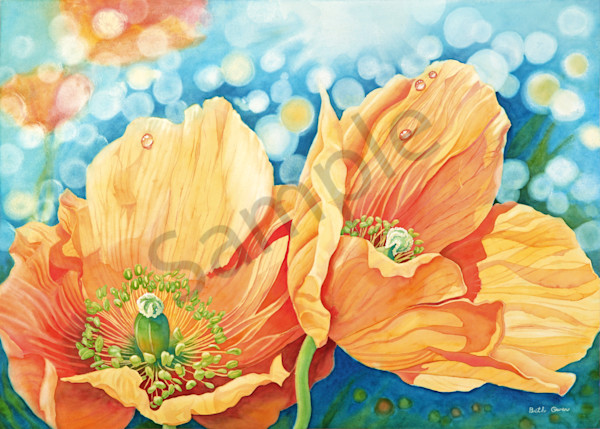 """""""Poppies"""" watercolor prints available in paper, metal, acrylic, canvas and wood by Beth Owen"""