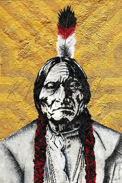 Sitting Bull The Warrior Art   K. Randall Wilcox Fine Art