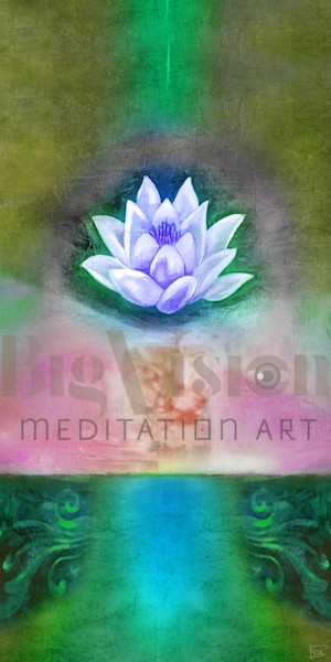 Lotus 002 5 Green Art | Big Vision Art + Design