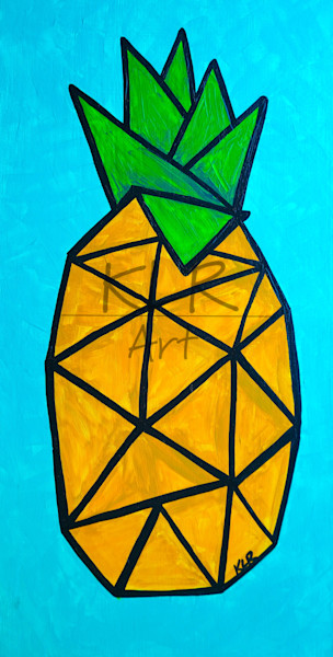fruit, plants, pineapple, acrylics, abstract, florals, art