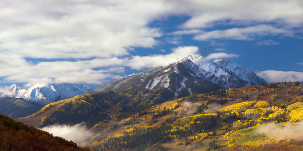 Mountain Light Images, Aspen Highlands in fall color seen from McLain Flats, trees, yellow, gold, mountains, colorado