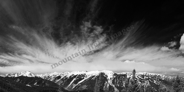 Mountain Light Images, view from Aspen Highlands to Hayden Peak from Aspen Mountain ski area. Black and white, bw