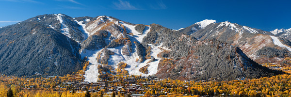 Mountain Light Images, fall, snow, aspen, trees, ski area, Aspen town, blue sky