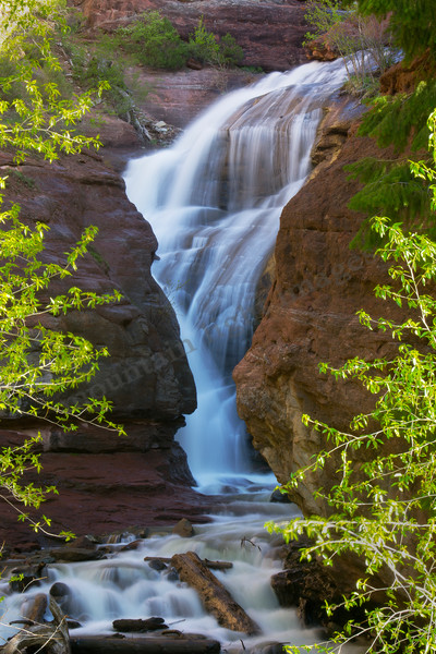 Mountain Light Images, waterfall, Hays Creek, water, redrock, colorado
